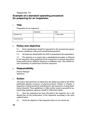 standard operating procedures examples manufacturing forms