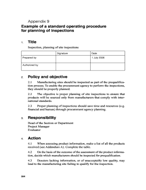 fillable online infocollections appendix 9 example of a standard