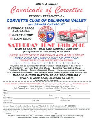 Fillable Online Proudly Presented By Corvette Club Of