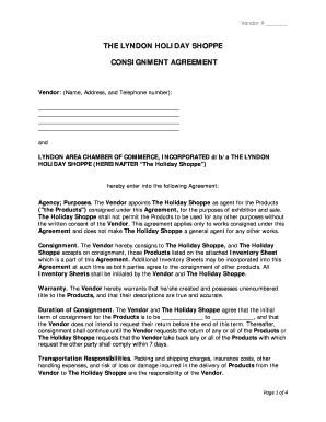 Consignment agreement template forms fillable for Consignment shop contract template