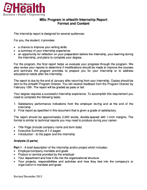 Editable contents of internship report - Fill Out, Print & Download