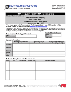 RMA Request FormRMA Packing Slip - Pneumercator