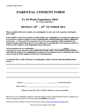 Parental consent form for work fill out print download online llanishen high school thecheapjerseys Image collections