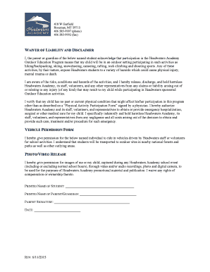 Lovely Liability, Vehicle And Photo Release Form   Headwaters Academy