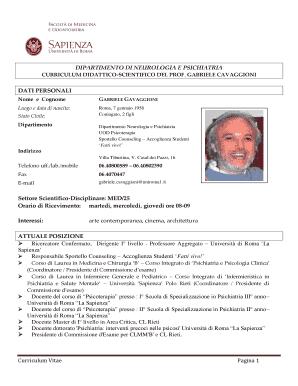 Fillable Online Neuropsi Sapienza Curriculum Vitae Ita