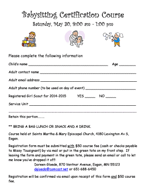 babysitting certification classes near me - Edit, Fill Out, Print