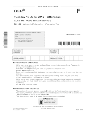 Tuesday 19 June 2012 Afternoon - MathsGeeks