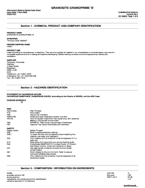 Fillable Online Granosite Granoprime S Chemwatch Material Safety Data Sheet Issue Date 7nov2008 Xc9317ec Chemwatch 504201 Version No 7 Cd 2008 3 Page 1 Of 6 Section 1 Chemical Product And Company Identification