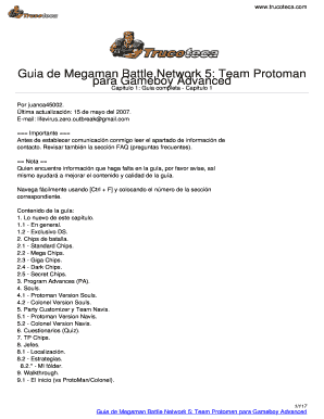 Megaman Battle Network 5 Team Protoman Guia Fill Online Printable Fillable Blank Pdffiller