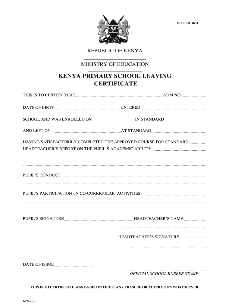 certificate leaving primary form template printable fill blank pdffiller forms