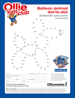Balloon animal dot-to-dot. - Ollie Kids Club - Officeworks