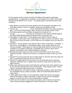 printable pet sitter independent contractor agreement edit fill