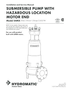 Fillable Online Submersible pump with hazardous location