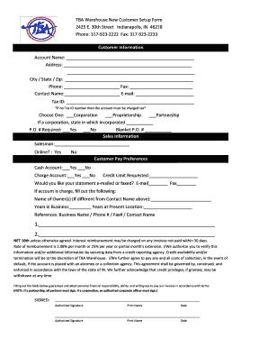 Fillable Online New Customer Setup Form