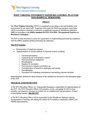 WVU Exposure Control Plan - Non-hospital - Environmental Health ... - ehs wvu