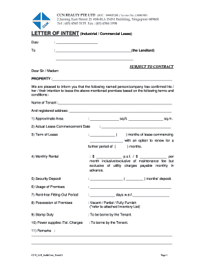 Lease Letter Of Intent Template from www.pdffiller.com