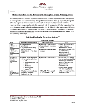 Editable warfarin bridging guidelines chest - Fill Out