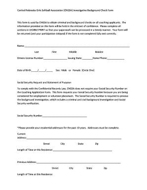 Fillable Online Coaches Background Check Form - CNGSA com