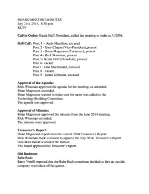 fillable online kltv board meeting minutes bkltvb kltv fax email