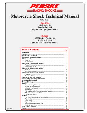 Fillable Online 8900 Motorcycle Manual p65 - Penske Shocks Fax Email