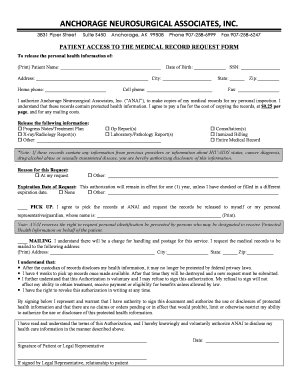 Patient Medical release form - Anchorage Neurosurgical Assoc