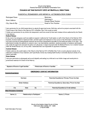 Permission Slip Template - Church of the Nativity UCC - nativityucc