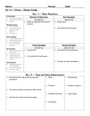 Name Period Date China Study Guide - Freewaltcom Fill ...