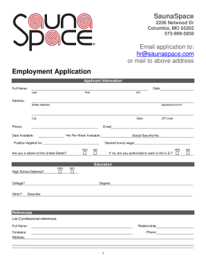 fillable online employment application saunaspace fax email print