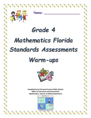 Fillable Online Name: Grade 4 Mathematics Florida Standards