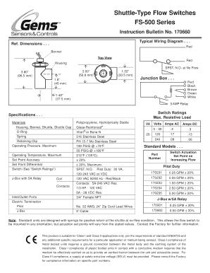 Fillable Online FS-500 Series Part Numbers - Gems Sensors & Controls Fax  Email Print - PDFfiller | Gem Sensors Wiring Diagrams |  | PDFfiller