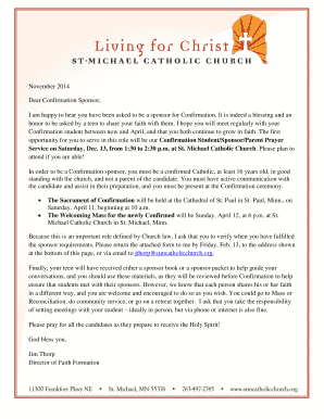 21 Printable catholic confirmation letter Forms and Templates