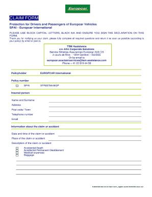 Fillable Online Europcar Axa Cs Uk Claim Form English Version