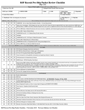 RSP Recruit Pre-Ship Packet Review Checklist - New Jersey Army bb