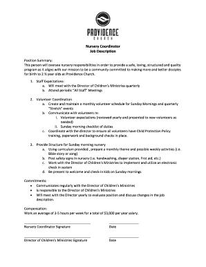 Nursery Coordinator Job Description