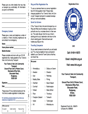 Membership form - Four Towns and Vale Link Community Transport