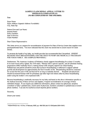 Sample Letter Of Appeal To Health Insurance Company from www.pdffiller.com