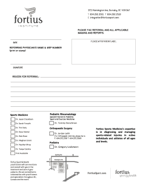 our referral sheet fortius sport health - Google Resume Pdf