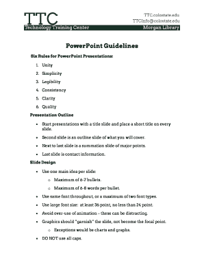 powerpoint presentation rules and guidelines - Forms