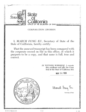 Certificate Of Amendment Of Articles Of Incorporation