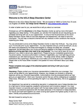 Fillable Online Sleepcenter Ucla Welcome To The Ucla Neurology Clinic Neurology Clinic Cover Letter Patient Questionnaire Sleepcenter Ucla Fax Email Print Pdffiller