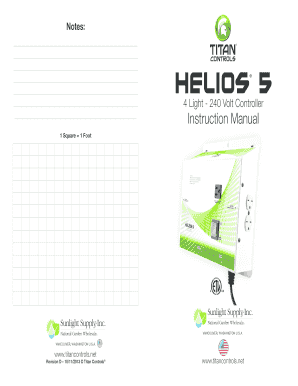 Notes Helios 4 Light - 240 Volt Controller Instruction Manual