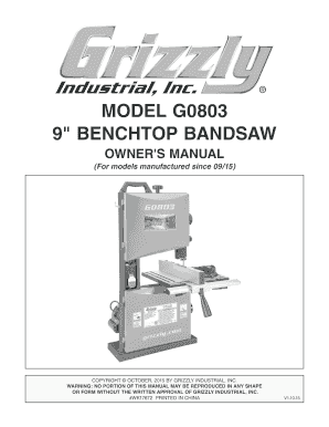 Grizzly G0803 9 Benchtop Bandsaw Review - Fill Online