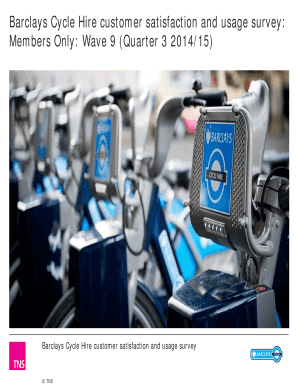 Fillable Online Barclays Cycle Hire customer satisfaction