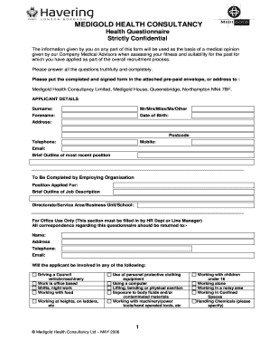 health questionnaire form