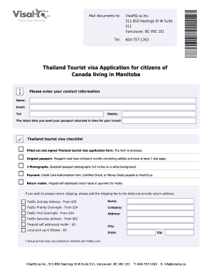 Fillable Online thailand visahq BThailandb Visa Application
