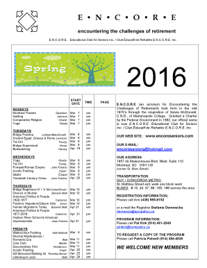Spring 2016 indexes - bencoreseniorsb