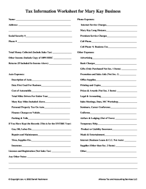 Fillable online mary kay worksheet alliance tax accounting fill online ibookread Download