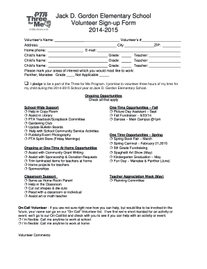 Fillable Online Jack D Gordon Elementary School Volunteer Sign Up Form Fax Email Print Pdffiller