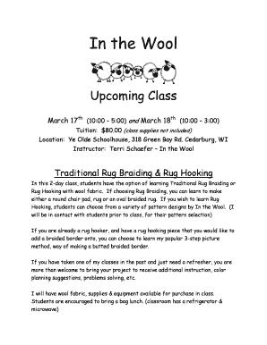 In The Wool Workshop Registration