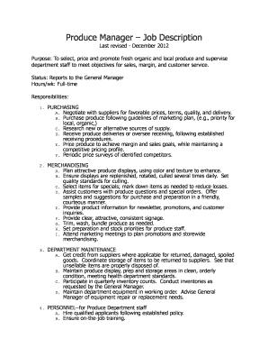 Fillable Online Produce Manager Job Description Fax Email